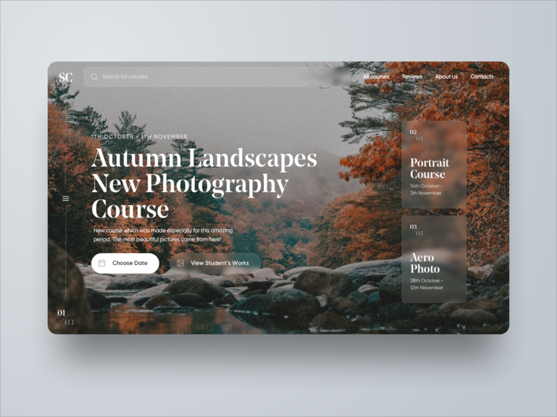 Autumn Photography Course | Desktop Website Design platform online course course photography photo trees autumn uxdesign uidesign sketch app web design web design interface ux ui