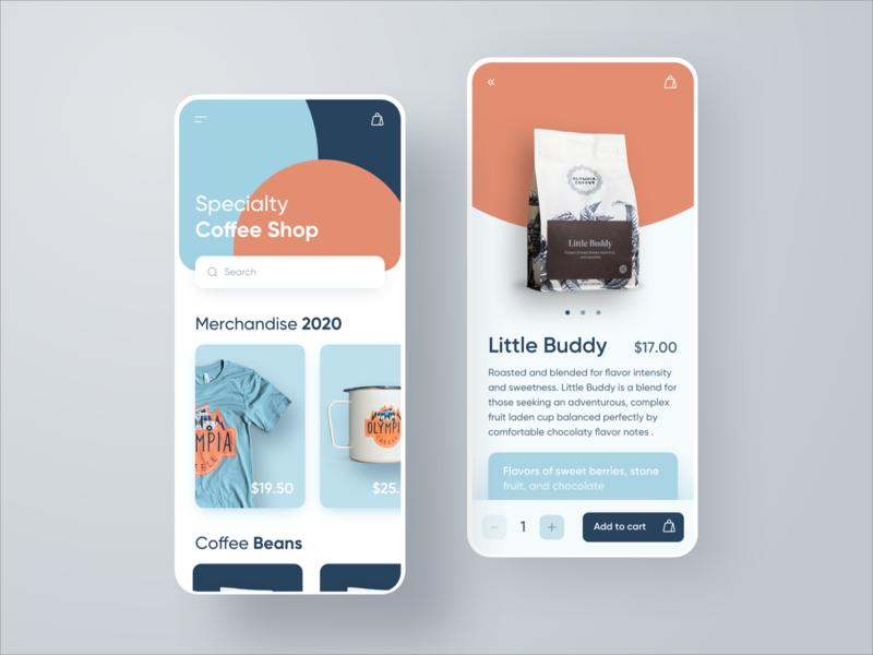 Coffee Shop App   iOS mobile app design colour colors merchandise ecommerce shop coffee mobile sketch app ios app design interface ux ui