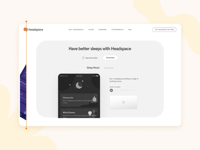 Headspace Wires to HiFi wireframe mockup ui motion design illustration design