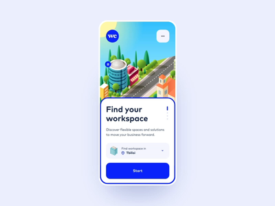 WeWork - Onboarding onboarding realestate wework application app illustration motion transition ux gif animation minimal design ui