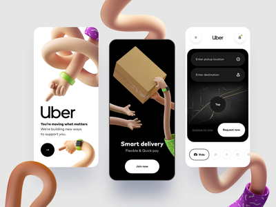 Uber App uber taxi delivery food mobile uidesign uiux ui application mapping navigation map burger illustration icon 3d
