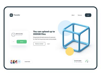 Wetransfer UI Concept upload motion transition onepage landing ux animation minimal design web ui