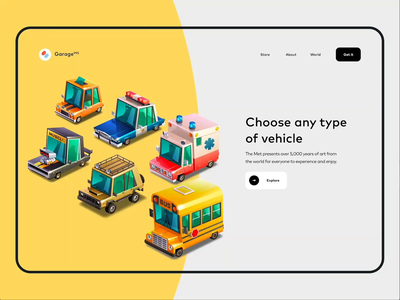 Garage 995 - Product Page Animation shop colors vector illustration landing motion animation minimal design web ui