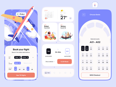 Picket - The Concept for the Flights Booking App travel flight booking dashboard illustration all product design app design application mobile