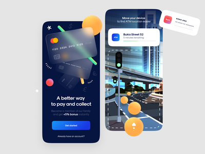 Onboarding & ATM Finder - AR augmentedreality ux design minimal ui atm scan direction route bank card glass virtual mobile illustration product design animation