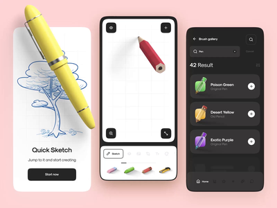 Smart Sketch App Interaction design motion animation ux ui list zoom scroll onboarding load draw sketch app mobile