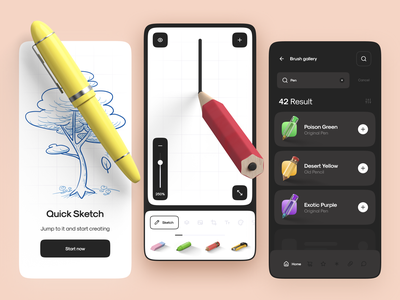 Smart Sketch App Interaction design motion animation ux ui list zoom scroll onboarding load draw sketch app mobile