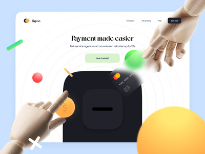 ⚡️ Payco - Interactive Landing animation transition motion scroll payment 3d finance landing web ui