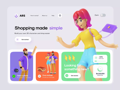 ARS ⚡️Shopping with your character 3d ecommerce design shopping character georgia tbilisi hero onepage micro motion transition ux minimal animation web ui moodboard