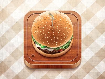 Burger vector burger wood ios icon food