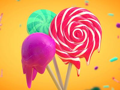 Lollipops food arnold cinema 4d 3d lollipops