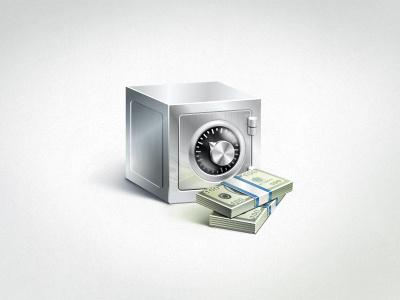 Safe safe money icon vector