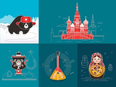 Russia balalaika nesting doll samovar kremlin moscow bear illustration russia