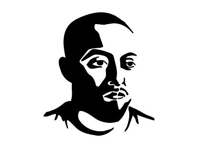 Mac Miller Portrait hiphop rap vector blackandwhite face minimal rapper man mac miller portrait illustration