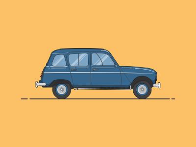 Renault 4L vintage retro vehicle renault flatdesign flat auto car graphicdesign vector illustration