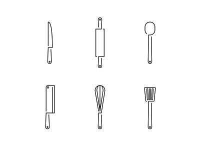 kitchen Utensils flatdesign flat filled line outline restaurant icon picto kitchen cooking cook kitchen utensils pictogram vector graphicdesign