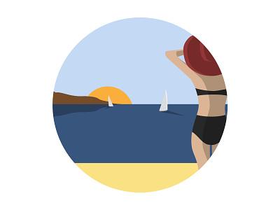 Ocean View sunset swimsuit summer sun woman sail boat ocean sea beach illustration vector graphicdesign flatdesign flat