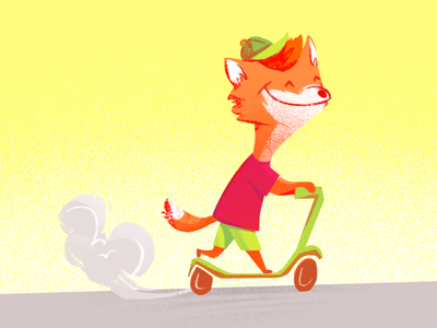 Fox Riding a Kick Scooter