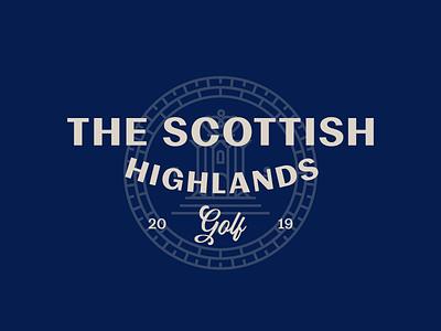 The Scottish Highlands Golf Brand golfer sports urban art urban apparel graphic design simple logos typography logomark logo designer branding tshirt badgedesign golf badge badge golf