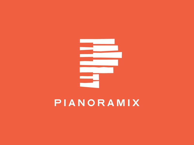Pianoramix - Logo 01 minimalist typography branding logodesign logo contemporary p logomark piano record label classic music classical music classical