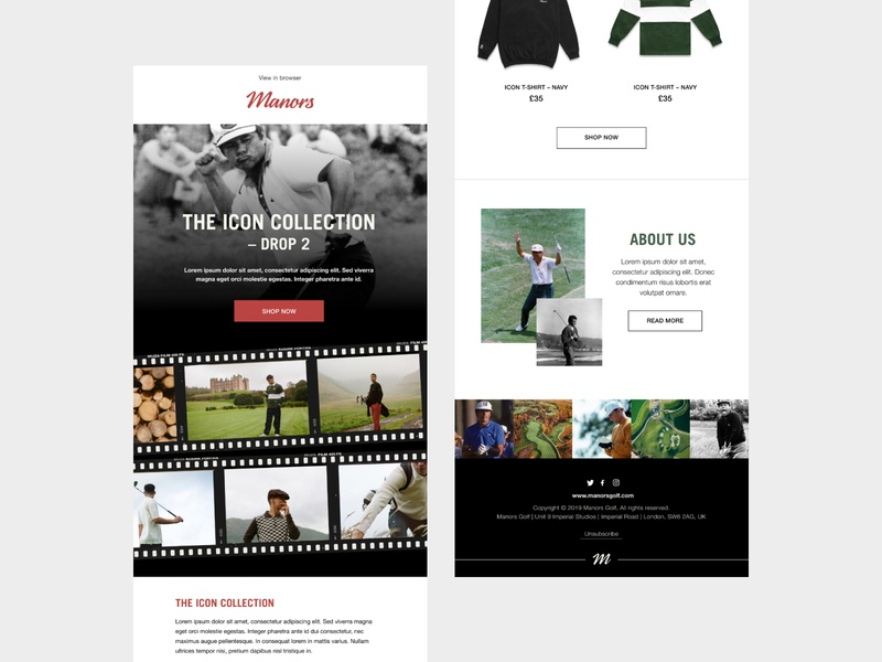 Manors Golf - Email Campaigns clean minimal typography golf brand clothing brand branding logo designer email design email marketing clothing product email campaign newsletter golf email