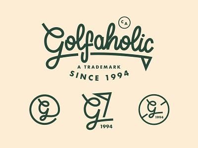 Golfaholic V2 wordmark sports script lettering icon logomark logotype lettering golf brand golfing golf badge