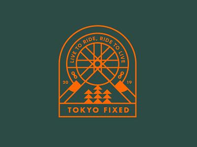 Tokyo Fixed Badge Design logomark typography branding logo tokyo fixed fixed bike cycle cycling fixed gear badge design