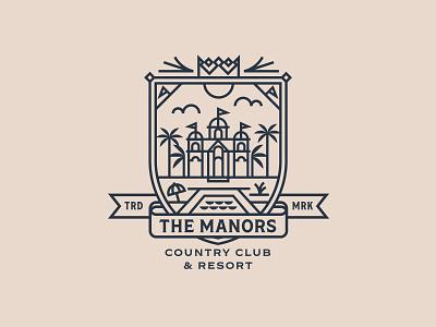 Manors  - Palm Springs badge identity design club logo country club palm springs lines badges badgedesign