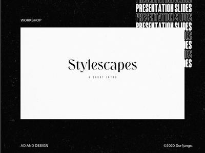 Stylescapes —Presentation Slides stylescapes presentation design slides presentation animation webdesign art direction layout grid typography