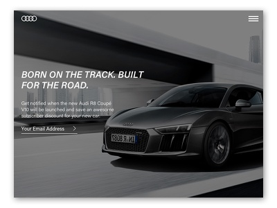 Audi R8 Subscribe - UI Challenge #22 automotive subscribe r8 car audi ui challenge daily ui ui design
