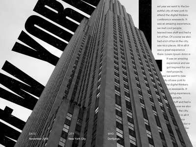 New York — Layout Exploration travel empire state new york website uidesign bold design portfolio editorial layout typography webdesign portfolio grid art direction clean concept layout exploration type