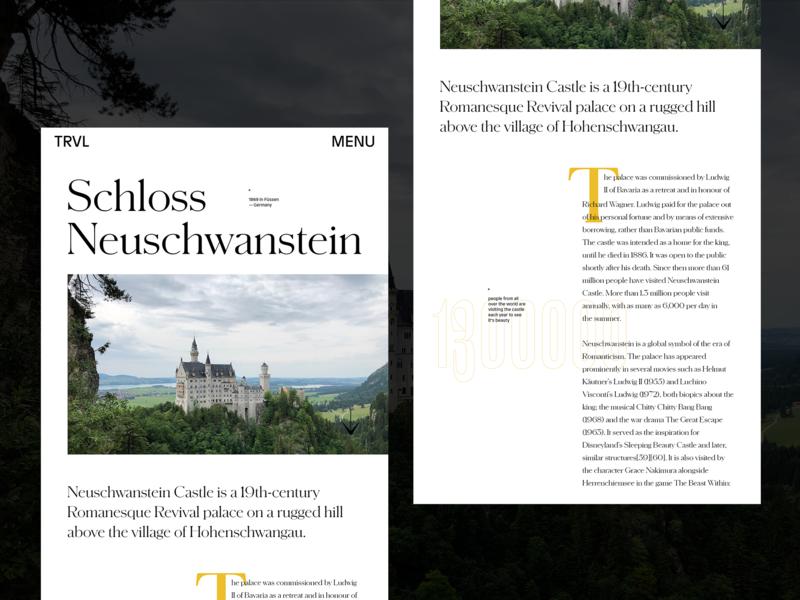 Editorial Design Exploration — No2 story blog neuschwanstein travel magazine blog details castle editorial layout typography grid art direction clean concept layout exploration type homepage design concept