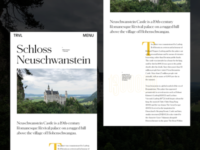 Editorial Design Exploration — No2 story blog neuschwanstein travel magazine blog details castle editorial layout typography grid art direction clean concept layout exploration type homepage design concept