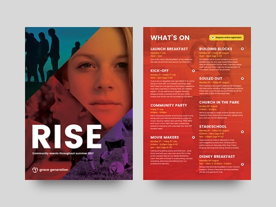 Rise Flyer whats on community northern ireland church brochure a5 flyer print graphic design