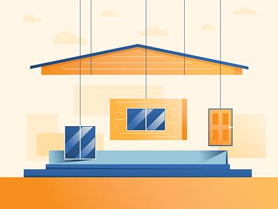 Assemble! flat 2d modular construction illustration
