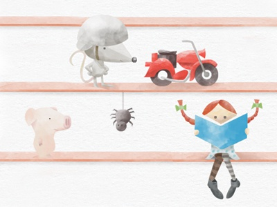 Kids Books Characters illustration kids books texture watercolor