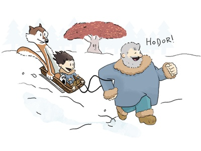 Game of Thrones Meets Calvin and Hobbes comics illustration calvin and hobbes hodor game of thrones got
