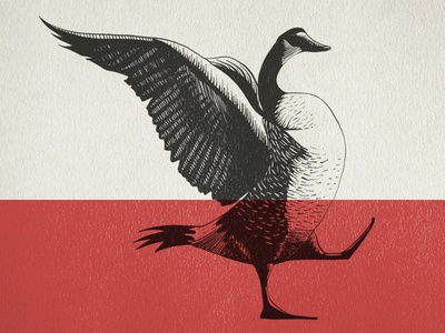 Giddy Goose goose happy vintage hand-drawn illustration