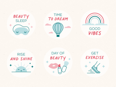 Self Care Stickers positive stickers vibes dream sunshine beauty hot air balloon rainbow self-care