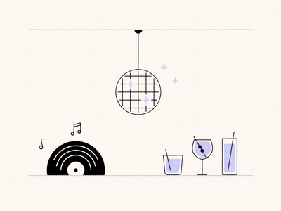 Music and dancing dancing music mid-century cocktails sparkles disco ball vinyl