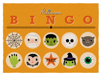 Halloween BINGO witch frankenstein monster spiderweb eyeball vampire skull mummy bingo halloween