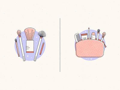 Makeup, bags & tools retro mirror mascara lipstick beauty cosmetics makeup illustration