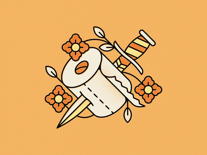 Toilet Paper Tattoo covid19 coronavirus corona leaf flower knife tattoo toilet paper