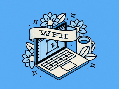 Work From Home computer tattoo flower mug laptop wfh home work