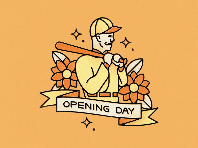 Opening Day tattoo flower banner opening day baseball