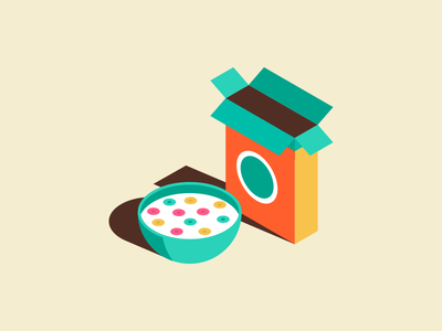 Cereal box bowl illustration isometric cereal
