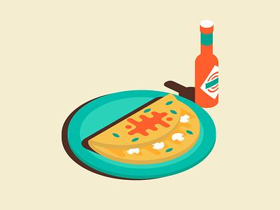 Omelette & Hot Sauce food illustration isometric sauce hot breakfast omelette