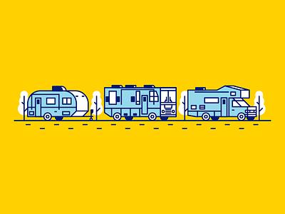 RVs truck camper yellow blue icon rv