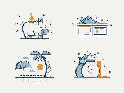 Retirement and Savings Icons umbrella beach bag money wallet bank piggy icons savings retirement