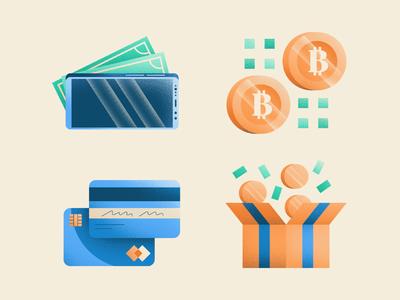 Cashless Business bitcoin money cash phone coin gift debit card credit card